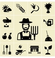 Farmer surrounded by farming themed icons vector image vector image