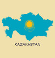 flag map of kazakhstan vector image vector image