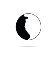 girl in circle silhouette in black vector image vector image