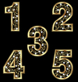 Gold numbers with swirly ornaments vector image