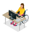 Handicapped woman in wheelchair in a office vector image vector image
