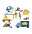 home moving set with family and people houses and vector image vector image