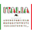 italy cartoon font italian national flag colors vector image vector image