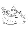 kawaii cat cartoon with cake design vector image