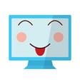 kawaii cute funny screen monitor vector image