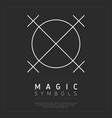 linear white magic symbol in circle vector image