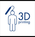 logo 3d printing and 3d pens vector image vector image