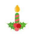 merry christmas candle mistletoe decoration icon vector image vector image