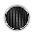 metal chrome perforated button vector image