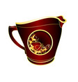 milk jug of black and red porcelain gold vector image vector image
