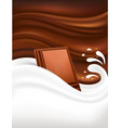 milk splash on dark chocolate background vector image vector image