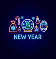 new year neon label vector image vector image