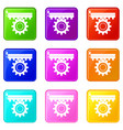 one gear icons 9 set vector image vector image