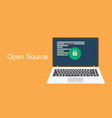 open source concept laptop with programming code vector image vector image