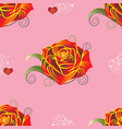 pattern red rose with hearts on pink background vector image vector image