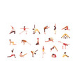 people doing yoga flat set vector image