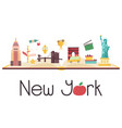 postcard with famous new york destinations symbol vector image vector image