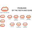 problems of the teeth and gums vector image