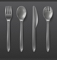 realistic transparent plastic cutlery spoon fork vector image vector image