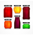 set of jars with jam vector image