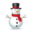 snowman with hat isolated on white background vector image vector image