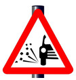 stone chipping traffic sign vector image vector image