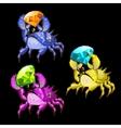 Three colorful crab with precious stones vector image vector image