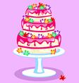 Three-tier-pink-cake vector image vector image