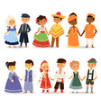 traditional kids couples character of world dress vector image