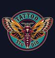 vintage tattoo salon round logotype vector image vector image