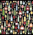 wine bottle wine glass tile pattern drink wine vector image vector image