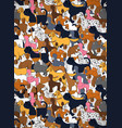 cute greeting card with cartoon colored dogs vector image