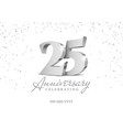 anniversary 25 silver 3d numbers vector image vector image
