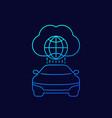 autonomous car connected to cloud linear icon vector image