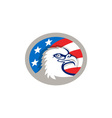 Bald Eagle Head USA Flag Oval Retro vector image vector image