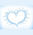 blue water splash creating heart shape vector image