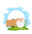 board template with white sheep vector image vector image