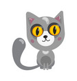 cartoon cat character in flat art style vector image vector image