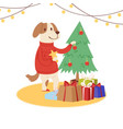 cartoon dog wearing red santa sweater decorates vector image