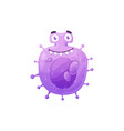 cartoon virus cell icon purple bacteria vector image vector image