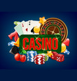 casino poster advertising of poker dice bowling vector image