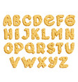 cheese letters alphabet font made milk food vector image vector image