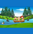 children paddle on wooden boat vector image vector image