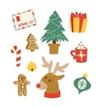 Christmas icons symbols set vector image