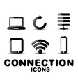 Cloud connection glossy black icon set vector image