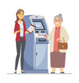 consultant helping senior woman - flat design vector image vector image