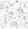 cute forest animals and elements seamless pattern vector image vector image