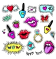 Decorative fashion patch badges vector image