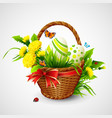 Easter card with basket eggs and flowers vector image vector image