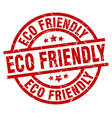 eco friendly round red grunge stamp vector image vector image